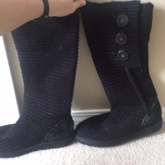 Black crochet Ugg boots